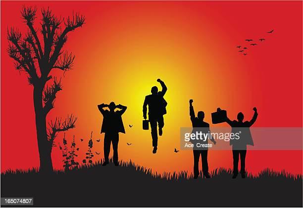 business success at sunset - glühend stock illustrations