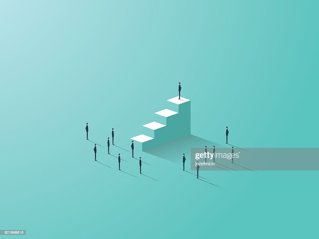 Business success concept with businessman standing on top of stairs