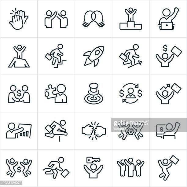 business success icons - hurdle stock illustrations