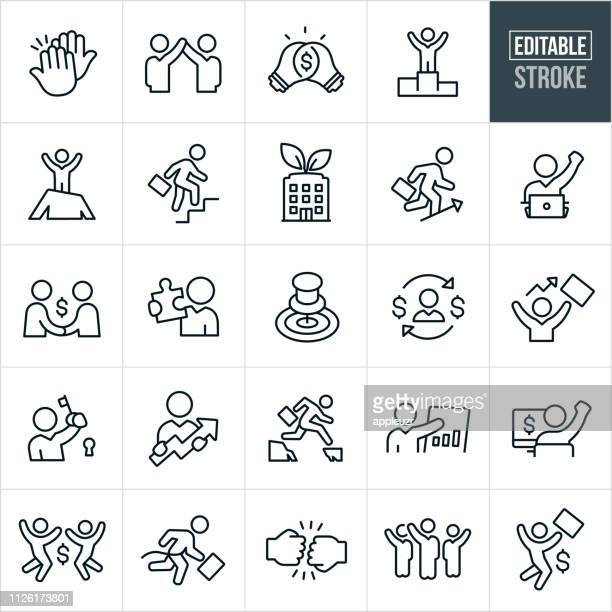 business success thin line icons - editable stroke - salesman stock illustrations