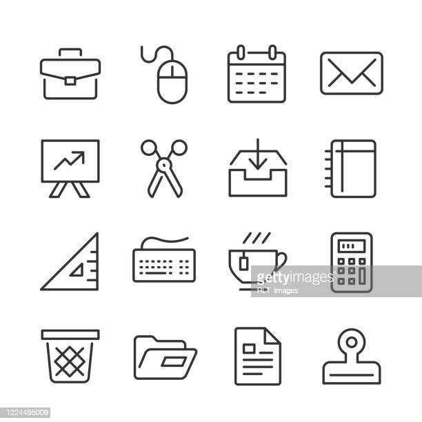 business supply icons — monoline series - outbox filing tray stock illustrations