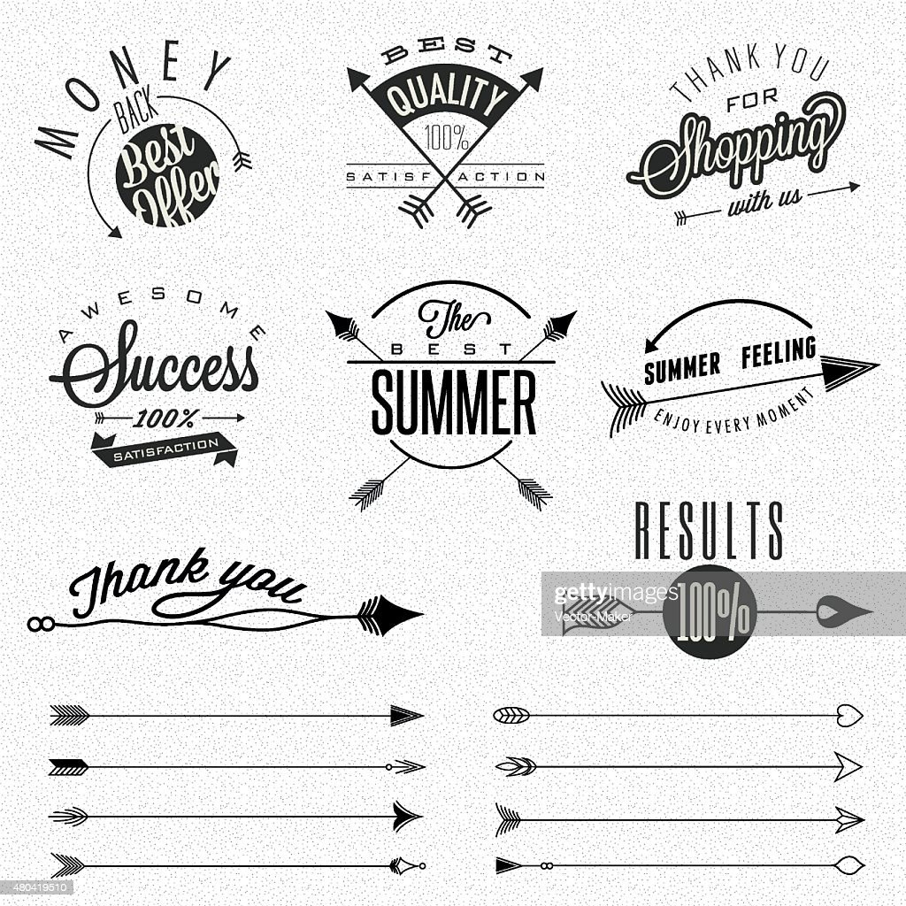 Business symbols and hipster arrows collection