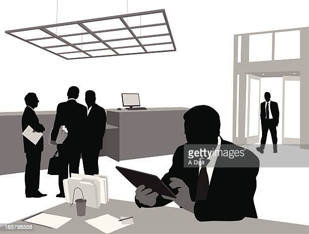 business tablet vector silhouette - desk organizer stock illustrations, clip art, cartoons, & icons