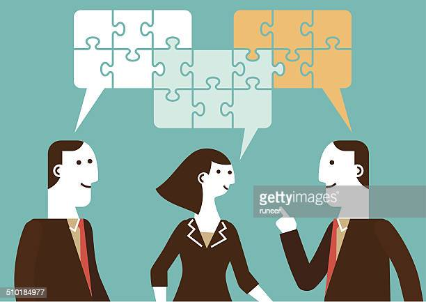 business talk | new business concept - three people stock illustrations