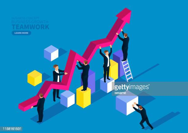business team and business growth - growth stock illustrations