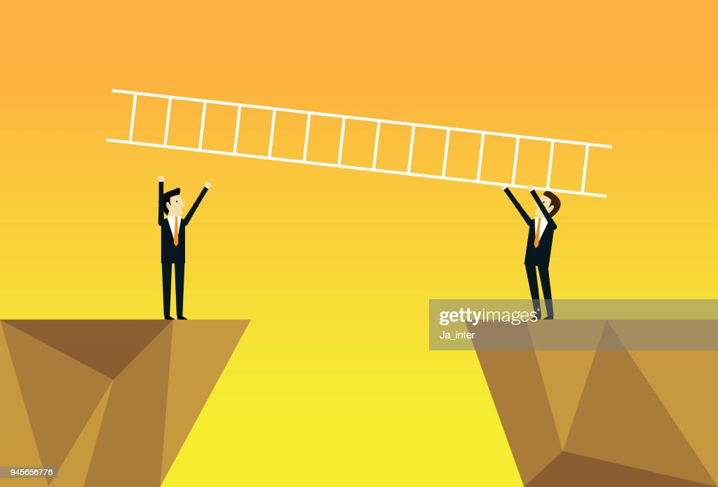 Business team and ladder : stock vector