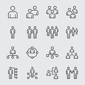 Business team and Organize line icon