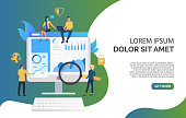 Business team and review on monitor vector illustration
