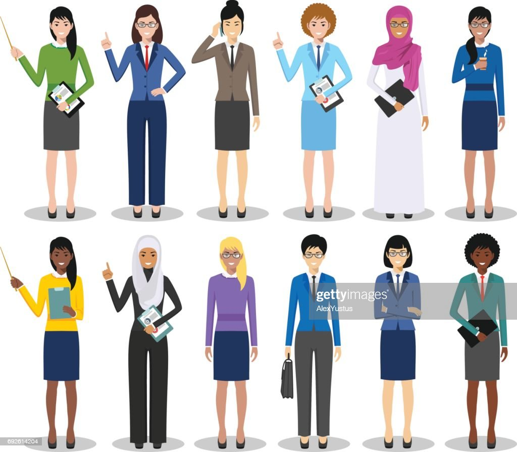 Business team and teamwork concept. Set of detailed illustration of businesswomen standing in different positions in flat style on white background. Diverse nationalities and dress styles. Vector illustration