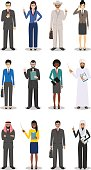 Business team and teamwork concept. Set of detailed illustration of businessmen and businesswomen standing in different positions in flat style on white background. Diverse nationalities and dress styles. Vector illustration
