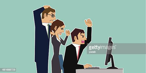 Business team angry at computer
