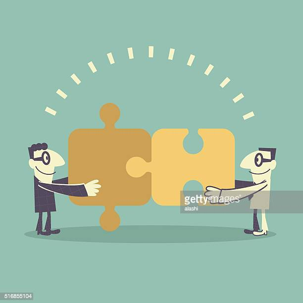 business team (businessman) assembling jigsaw puzzle (putting puzzle together) - part of stock illustrations