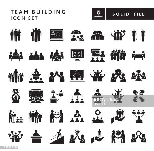 business team building solid fill style - big icon set - solid stock illustrations