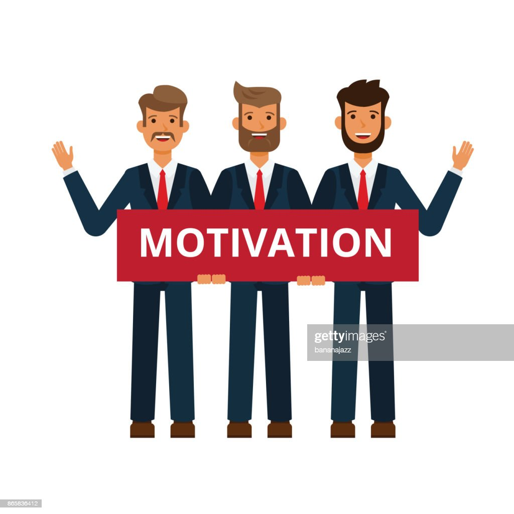 business team, businessman holding motivation board cartoon flat vector illustration concept on isolated white background
