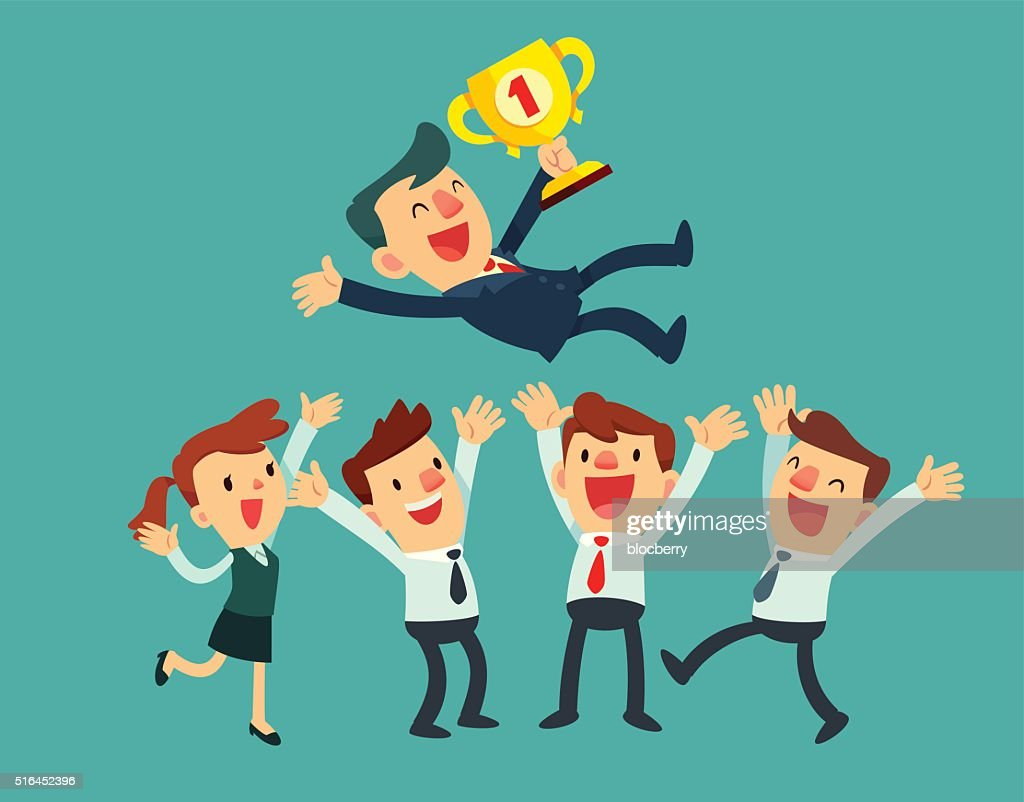 business team celebrate their success