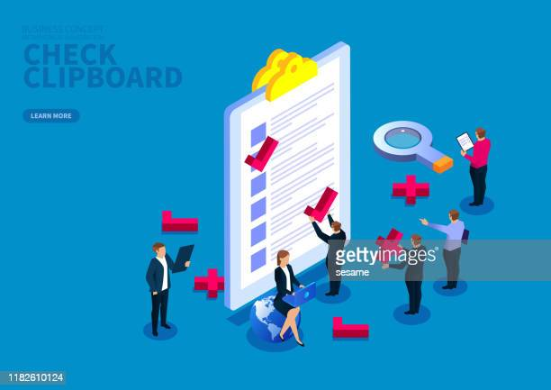 business team checking clipboard list - rating stock illustrations