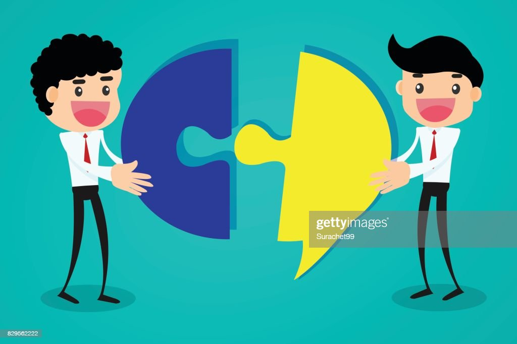 Business team communication with speech bubble.business concept vector illustration.