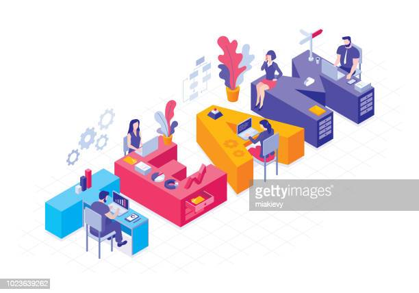 business team concept - partnership teamwork stock illustrations