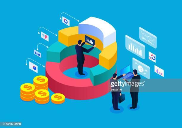 ilustraciones, imágenes clip art, dibujos animados e iconos de stock de analistas de datos del equipo de negocios trabajan juntos, análisis estadístico de datos, análisis financiero, investigación de mercado - panel de indicadores medios visuales