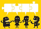 Business Team Discussion Matching Jigsaw Puzzle | Yellow Business Concept
