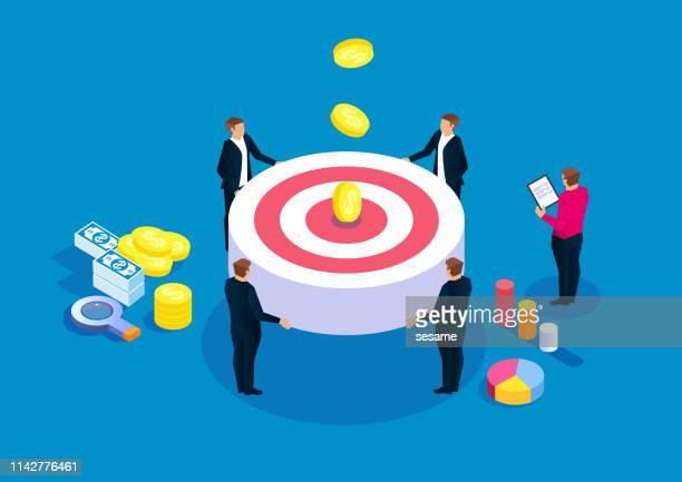 illustrazioni stock, clip art, cartoni animati e icone di tendenza di business team goal concept - collezione