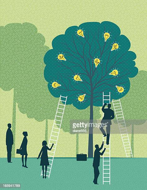 Business Team Harvesting Ideas From A Tree