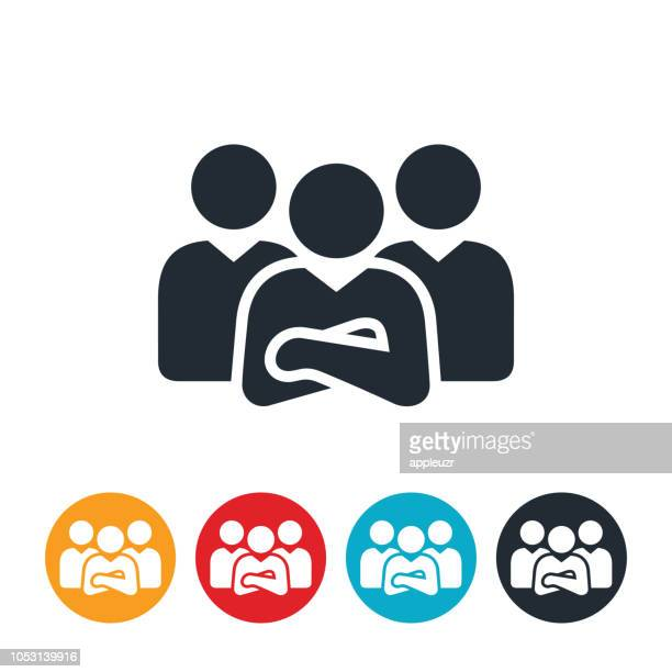 business team icon - three people stock illustrations
