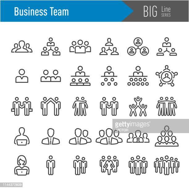 business team icons - big line series - bonding stock illustrations