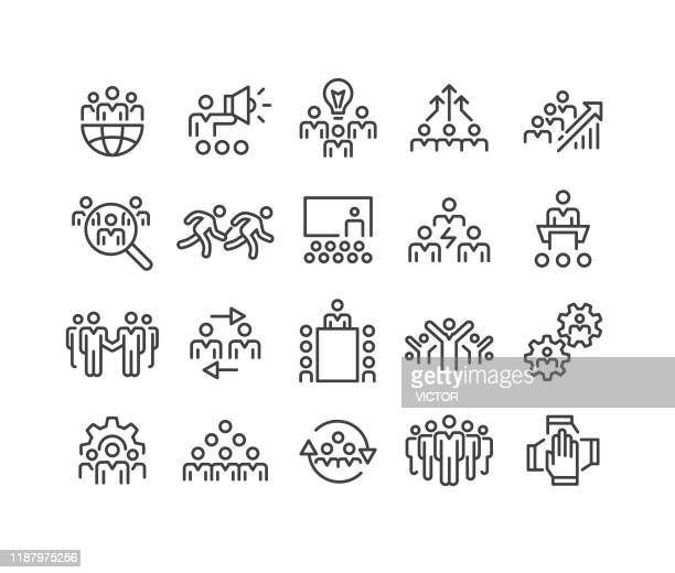 business team icons - classic line series - attending stock illustrations