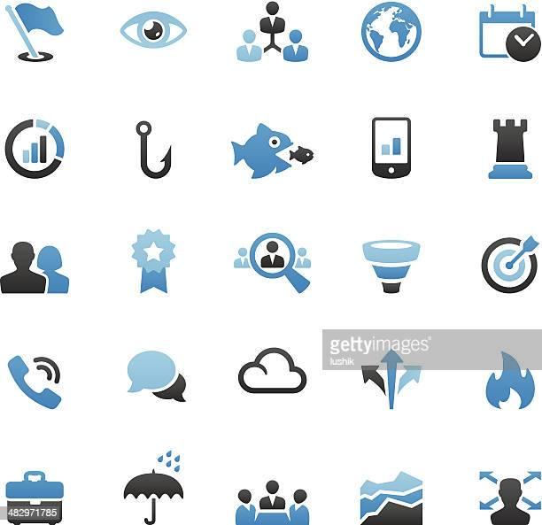 ilustraciones, imágenes clip art, dibujos animados e iconos de stock de equipo conjunto de iconos de negocios - torre pieza de ajedrez