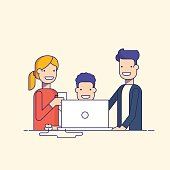 Business team in a work process or parent watch the