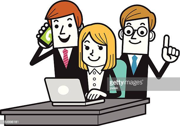Business team in Office and Laptop