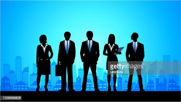 business team in the city - full suit stock illustrations