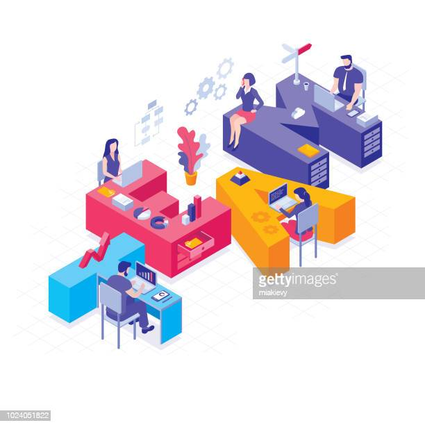 business team isometric concept - parte do corpo humano stock illustrations