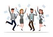 Business team jumping celebrating success.