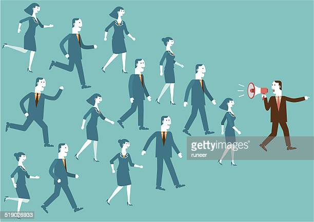 ilustraciones, imágenes clip art, dibujos animados e iconos de stock de líder del equipo de negocios con un megáfono - lealtad