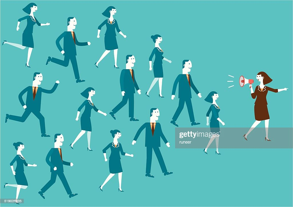 Business Team Leader with Megaphone | New Business Concept