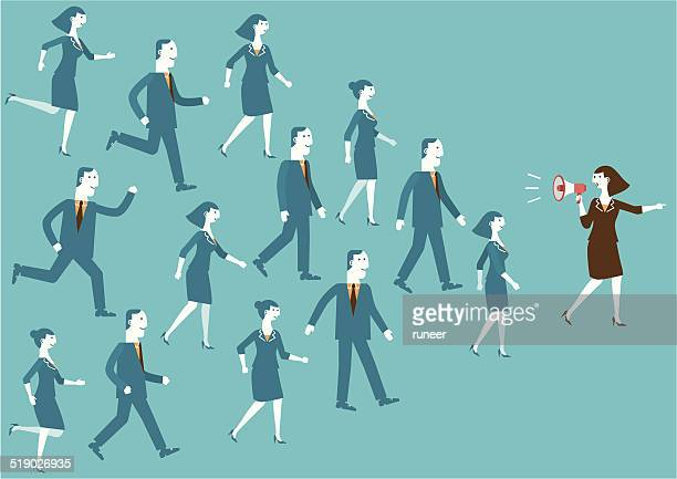 business team leader with megaphone | new business concept - guru stock illustrations, clip art, cartoons, & icons