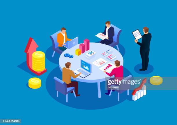 business team-meetings und finanzstatistiken - erwachsene person stock-grafiken, -clipart, -cartoons und -symbole