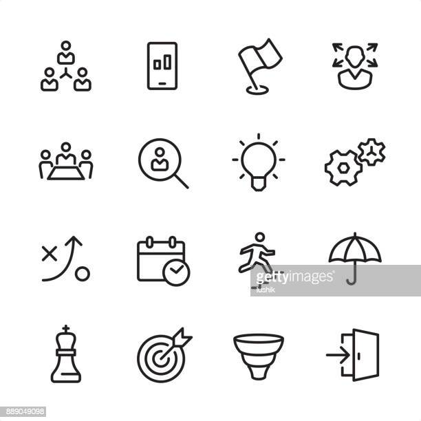 business team - outline icon set - entrance stock illustrations, clip art, cartoons, & icons