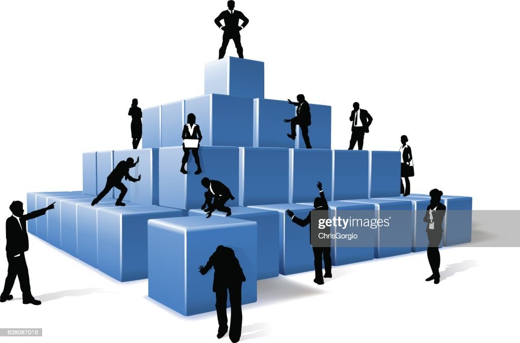 Business Team People Silhouettes Building Blocks
