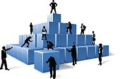 Business Team People Silhouettes Building Blocks