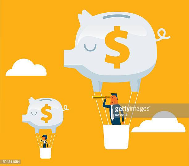 business team piggy bank hot air balloon outlook - investment stock illustrations