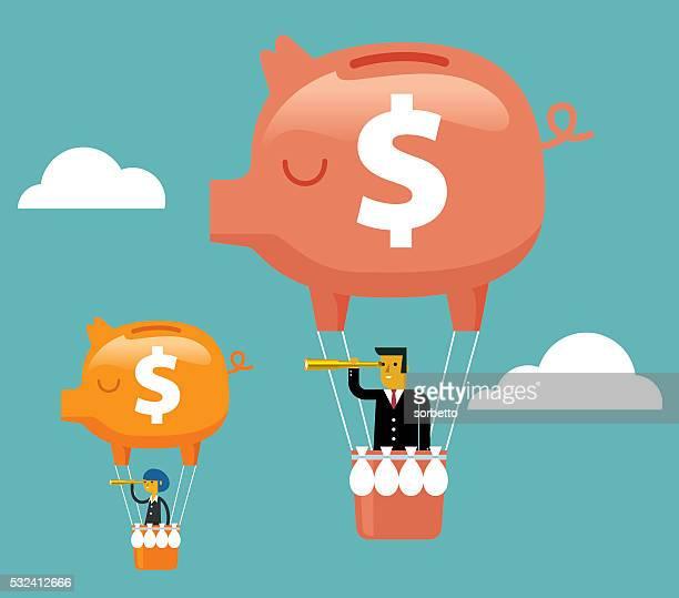 ビジネスチーム貯金箱熱気球展望