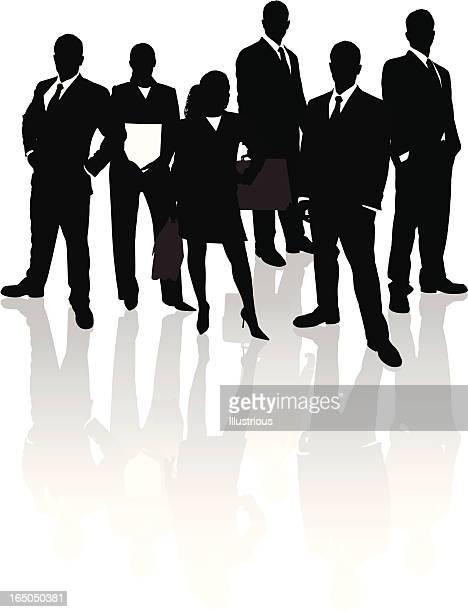 ビジネスチーム反射シリーズ - 腰に手を当てる点のイラスト素材/クリップアート素材/マンガ素材/アイコン素材