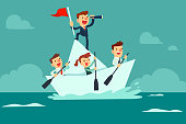 business team sailing on paper boat