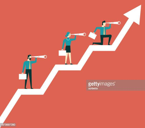 business team standing on diagram - line graph stock illustrations