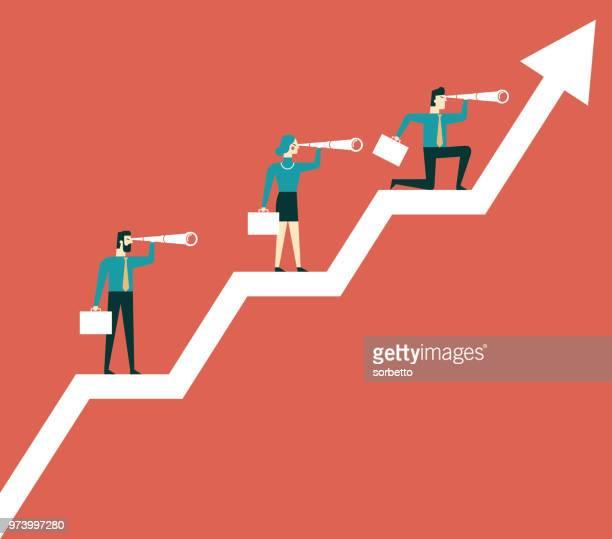 business team stehende diagramm - liniendiagramm stock-grafiken, -clipart, -cartoons und -symbole