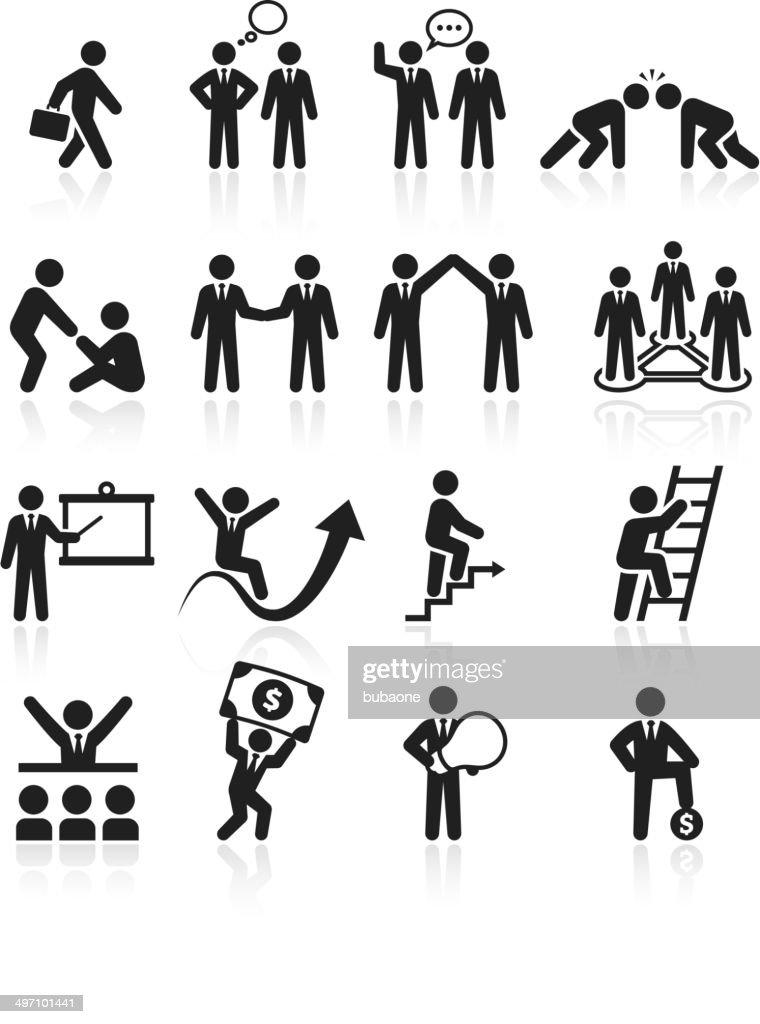 Business team success and achievement black & white icon set : stock illustration