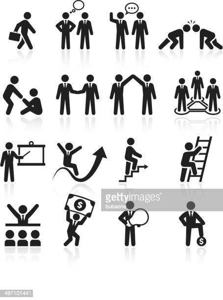 business team success and achievement black & white icon set - office politics stock illustrations, clip art, cartoons, & icons